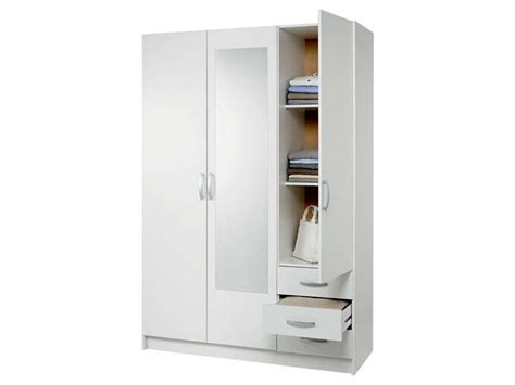 chambre adulte fly armoire 3 portes 3 tiroirs spot coloris blanc vente de