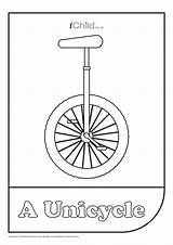 Unicycle Colouring Activity Ichild Log sketch template