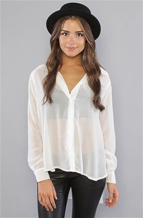 sheer white blouse minkpink the sheer indulgence blouse in white in white