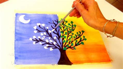 dibujos del del dia y la noche pintar arbol de dia y noche day and tree youtube