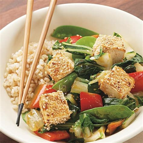 cuisine tofu sesame crusted tofu vegetables recipe eatingwell