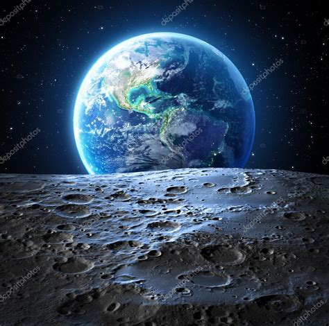 blue earth view  moon surface usa stock photo