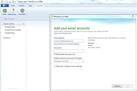 answer detail setting up your windows live mail