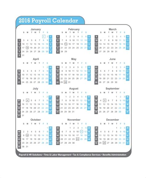 sample payroll calendar template documents excel