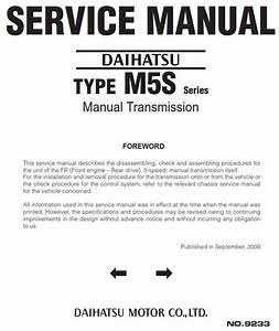 Pdf Online - Daihatsu Type M5s Series Manual Transmission  No  9233