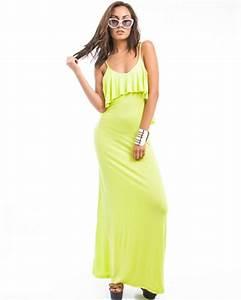 Neon Yellow Ruffle Open Back Maxi Dress