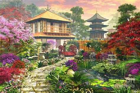 japan garden digital art  dominic davison