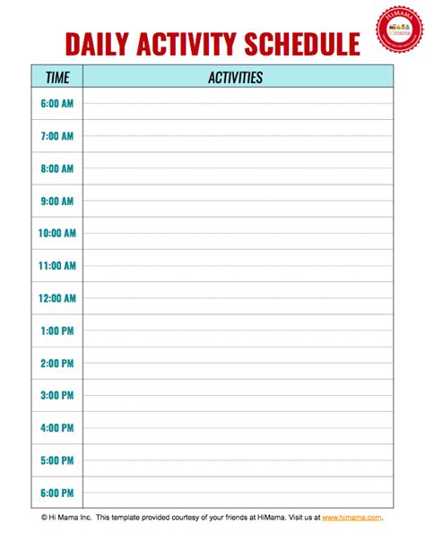 daycare daily schedule template daycare daily schedule