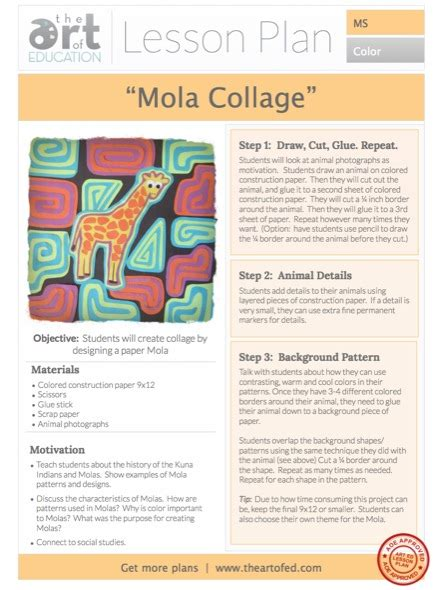 Collage Mola Free Lesson Plan Download  The Art Of Ed