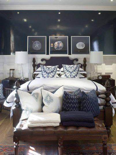 Decorating Ideas Navy Blue Walls by Navy Blue Coastal Bedroom Design With Glossy Navy Blue