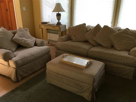 feather and filled sofa chair and a half ottoman