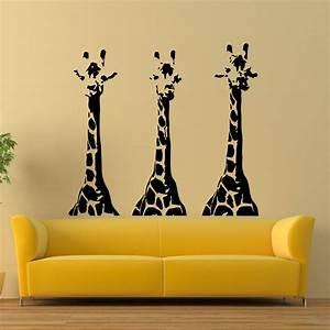 Wall vinyl decals giraffe animals jungle safari decal for Wall murals decals