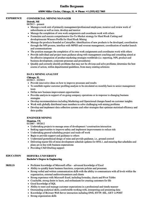 mining resume sles velvet