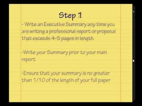 learn how to write an executive summary tutorial