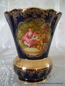 Limoges France Fragonard Love Story Courting Couple Porcelain Cobalt Blue Vase 1