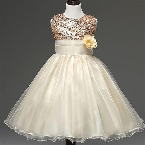 flower girl dress wedding sequin yellow    years ball