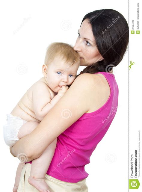 Mother Holding A Naked Baby In Her Arms Stock Photo Image