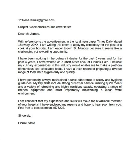 Email Cover Letter Template by Email Cover Letter Exle 10 Free Documents