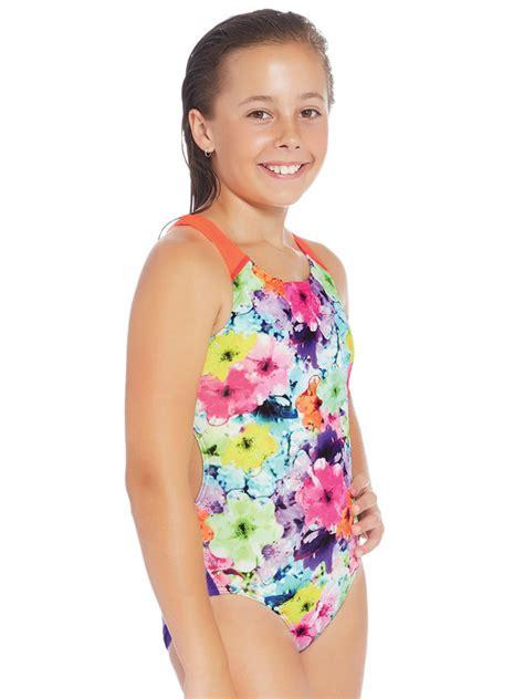 speedo chroma flora girls  piece swimsuit