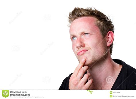 Young Man Thinking Hard Stock Photo. Image Of Blond