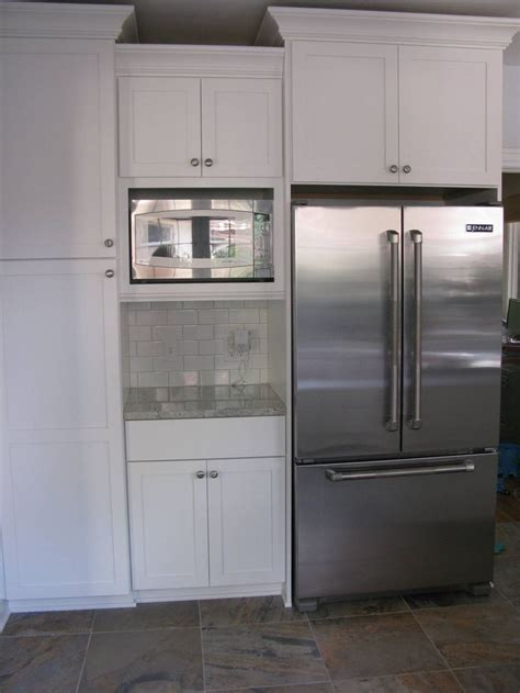 kitchen wall cabinets built in microwave cabinet our fridge and microwave are 6523