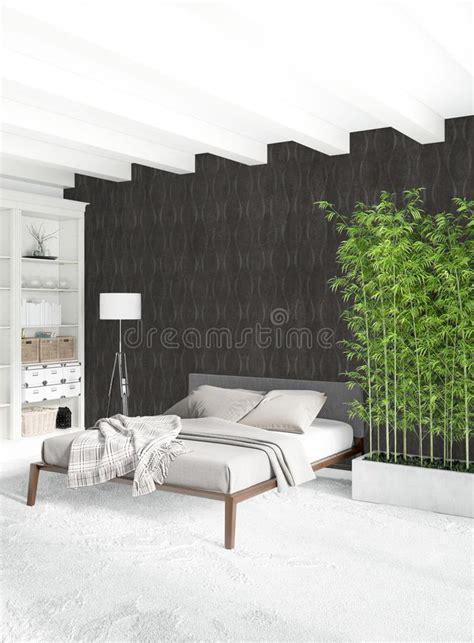white bedroom minimal style interior design  wood wall