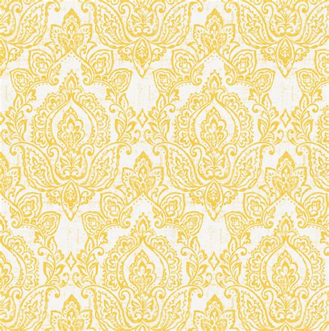 White and Yellow Vintage Damask Fabric by the Yard