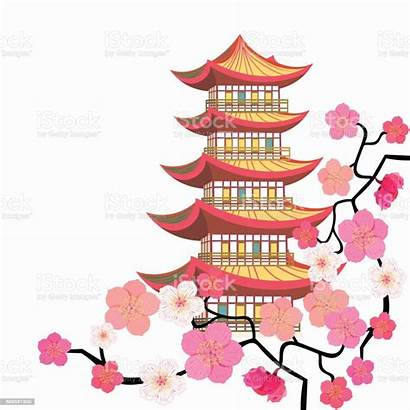Pagoda Chinese Pagode Cherry Sakura Levels Five