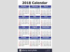 2018 calendar Simple vector calendar for year 2018 Stock