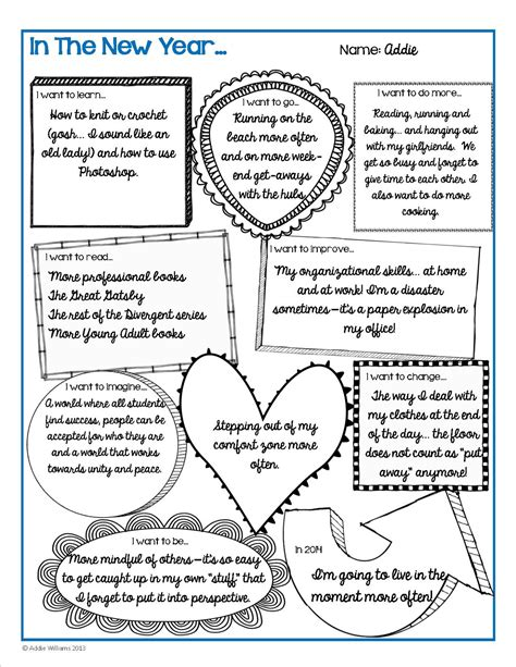 New Year's Goals And Resolutions Activity  Free  Addie Williams  Teacher Talk
