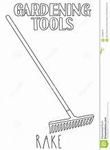 Rake Line Illustration Coloring Garden Tool Vector Adults Country Preview Leaf sketch template