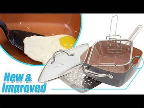 copper cook deep square copper nonstick pan pc set youtube