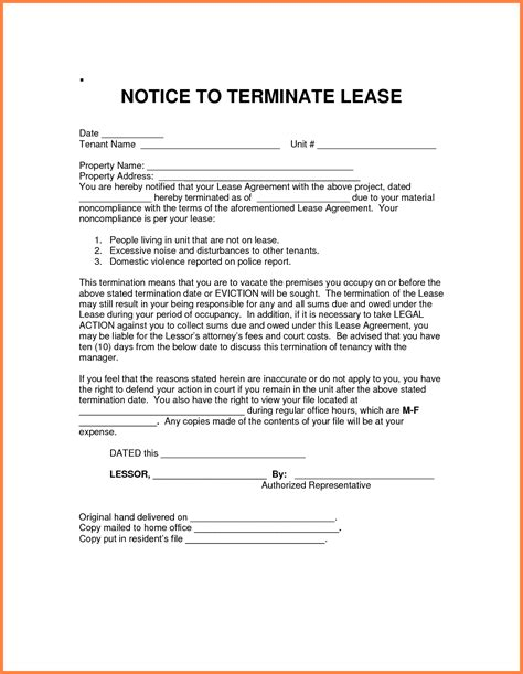 notice  termination  rental agreement purchase