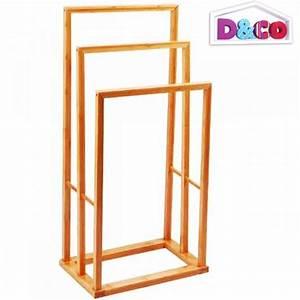 Porte Serviette Echelle Bois : porte serviette salle de bain bambou 82 cm ~ Teatrodelosmanantiales.com Idées de Décoration