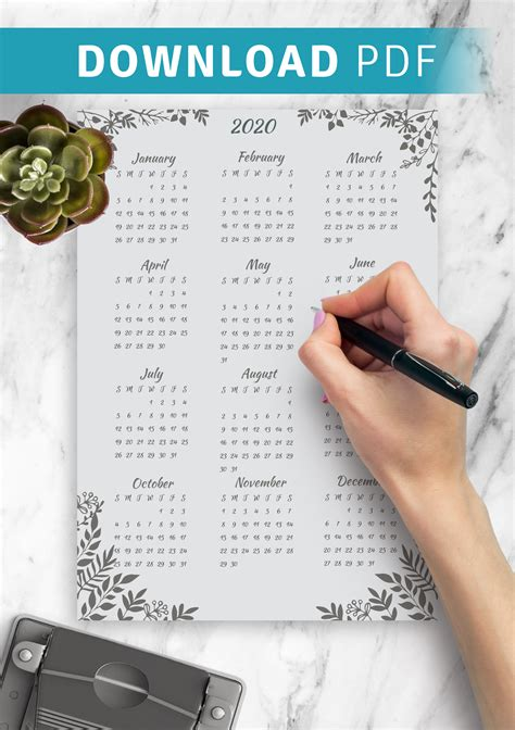 printable gray botanical yearly calendar