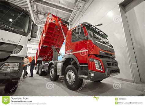 moscow sep   view  volvo dump truck exhibit