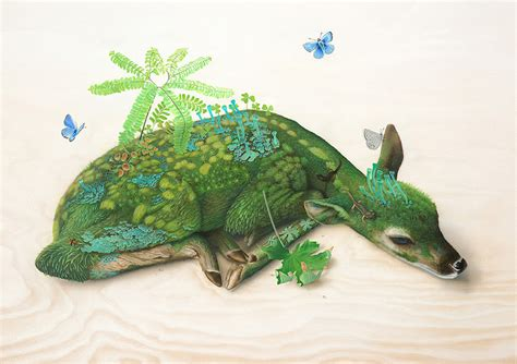 surreal wildlife paintings  tiffany bozic colossal