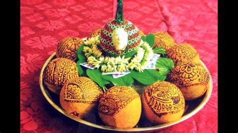 coconut decoration  mehndi design coconut decoration
