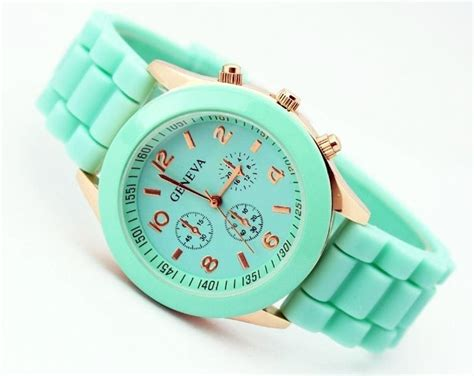 Geneva Mint/turquoise Teal Color Quartz Unisex Watch