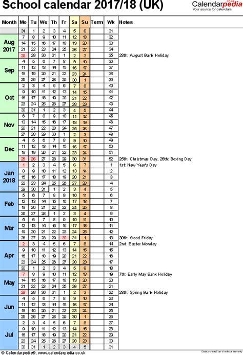 2017 18 school calendar template school calendars 2017 2018 as free printable excel templates