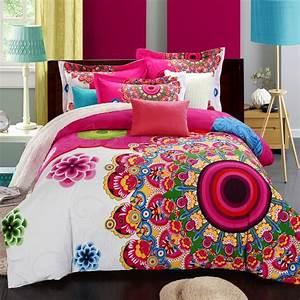 Bohemian, Style, 100, Cotton, 4pcs, Bedding, Sets, Flower, Home
