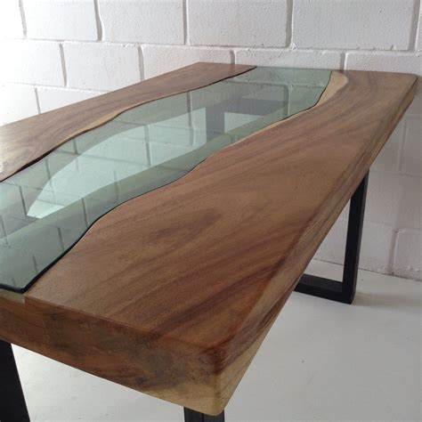 Live Edge Acacia Wood Dining Table With Glass River Centre