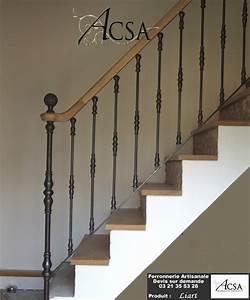 Escalier Fer Et Bois : rampe d 39 escalier fer et bois liart ferronnerie artisanale ~ Dailycaller-alerts.com Idées de Décoration