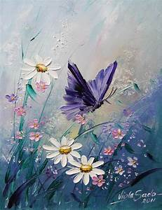 Beautiful purple butterfly and wildflowers painting. I ...