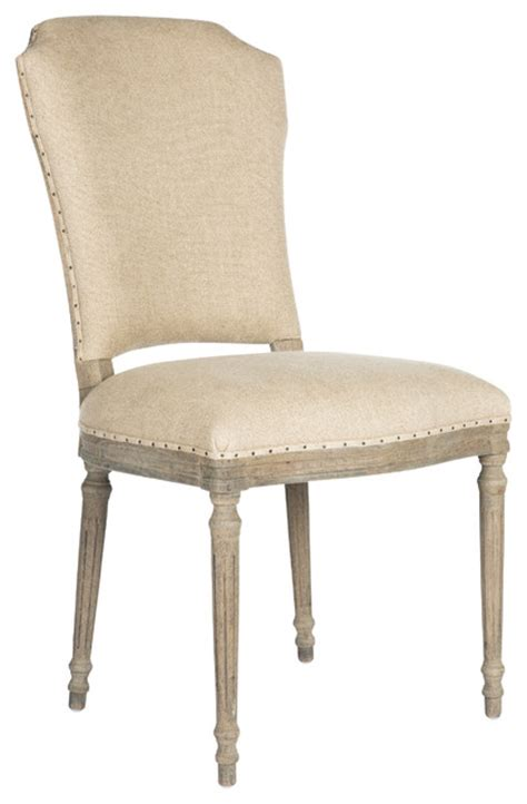 pair of camilla country distressed grey upholstered