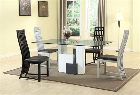 graceful rectangular clear glass top dining table and