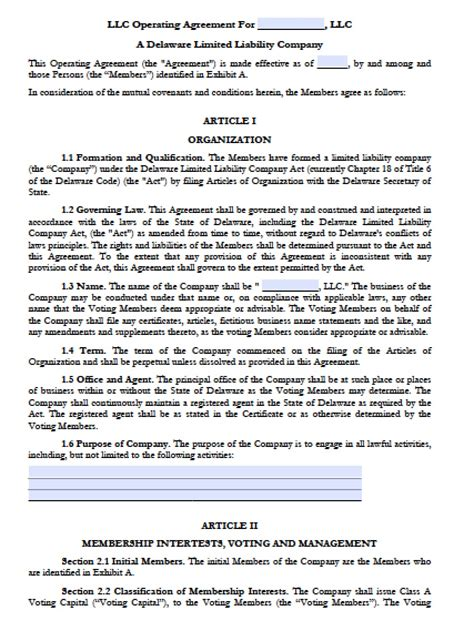 delaware llc operating agreement forms