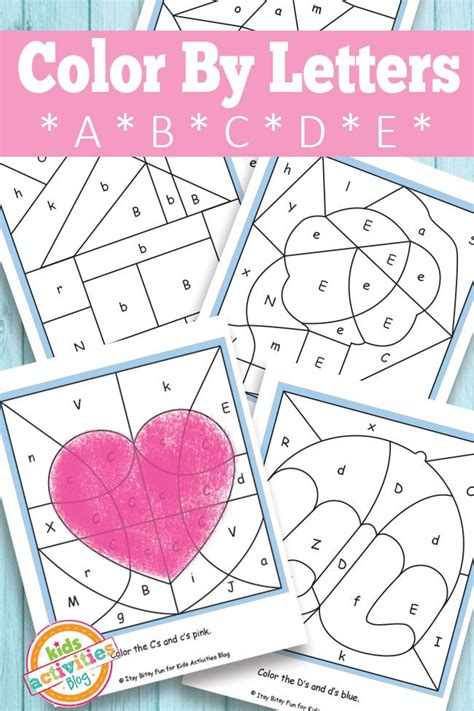 color by letters a b c d e free printable kid