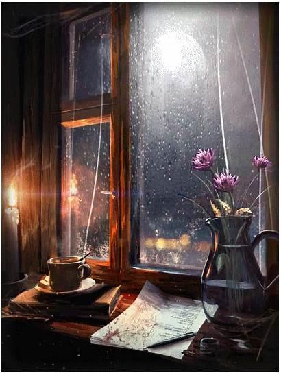 Rainy Night Gifs Days Cozy Stormy