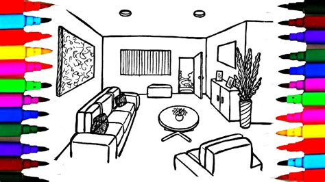 coloring pages living room  dining  bedroom  lounge
